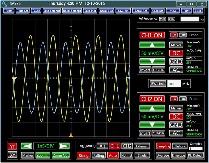 USB Oscilloscope Analog Arts SA985, A 520 MHz signal displayed in the classical style window