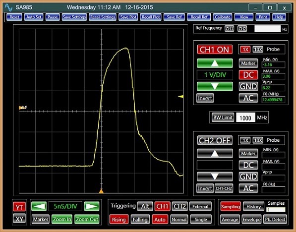 USB Oscilloscope Analog Arts SA985, Display of a 10 nS pulse