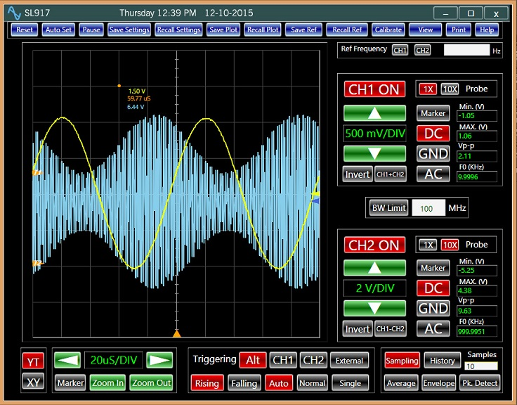 USB Oscilloscope Analog Arts SL917, A classical display of an AM signal and a sine-wave