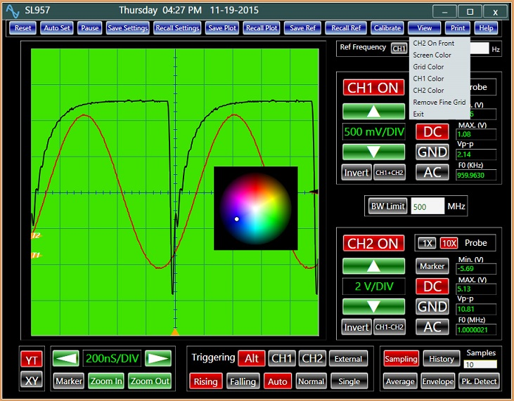 USB Oscilloscope Analog Arts SL957, The oscilloscope classical display