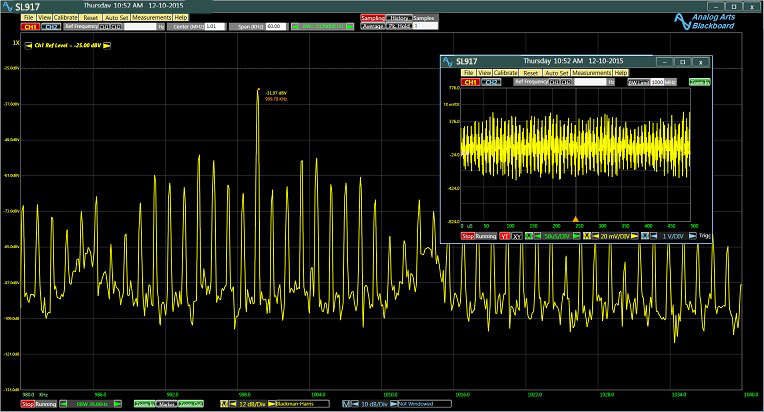 USB Spectrum Analyzer Analog Arts SL917, The time domain and the frequency domain representation of an AM signal